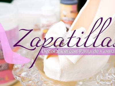 Zapatillas, decoración con pasta de goma