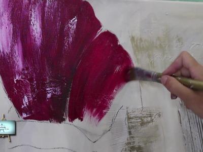 2º Parte!!! Cuadro con fondo de diferentes texturas y flor de amapola!!!
