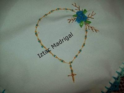 82.- Como coser Chaquira o canutillo recortado en puntada eslabon. Iztac Madrigal