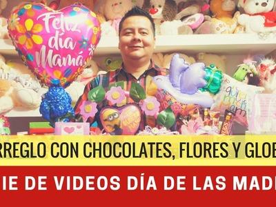 Arreglo con flores, chocolates y globo para el día de las madres