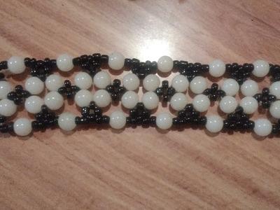 Brazalete de perlas de cristal y chaquiron