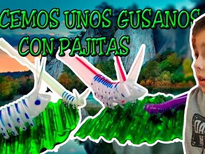 Como Hacer Gusanos Y Orugas con Pajitas CHALLENGE | Aventuras y Juguetes de Iker
