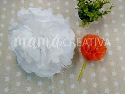 Como hacer pompones con papel de seda.