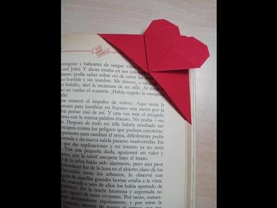 Como hacer un marca paginas corazon Origami3