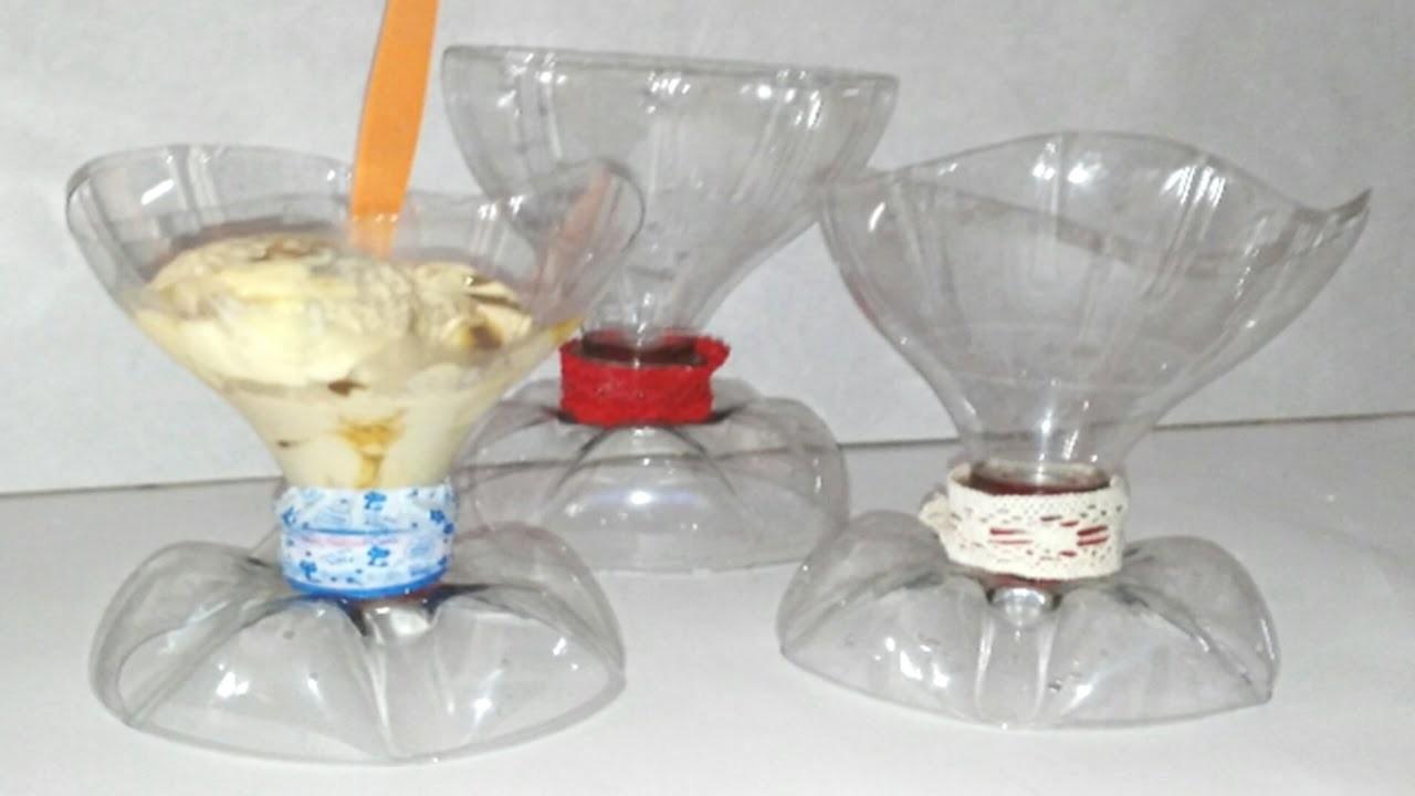 Copas con botellas de plastico recicladas para helados y ensalada de frutas DIY Manolidades