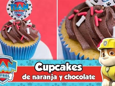 CUPCAKES DE NARANJA Y CHOCOLATE | Mesa dulce de Tián | PAW PATROL