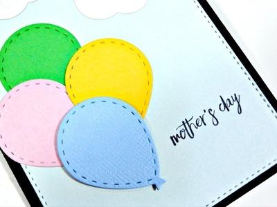 Día de la Madre | Tarjeta de felicitación con globos y nubes