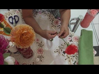 Flor de Tecido Desfiado - Elisete Alves
