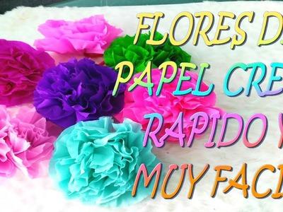 Flores de papel crepe faciles de hacer