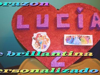 #manualidades Corazon personalizado de brillantina