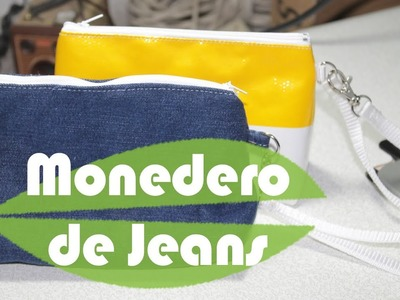 Monedero con unos jeans.reciclar tela de mezclilla