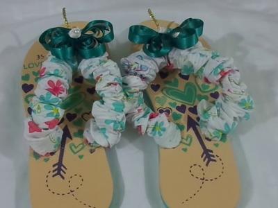 Paso  a paso de como decorar unas sandalias en tela y cintas.como hacer una sandalias personalizadas