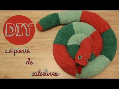 Peluche Serpiente hecha de calcetines (manualidad express) --DIY fácil