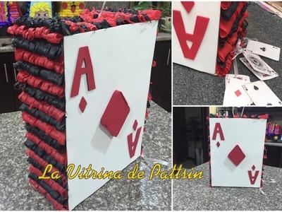 Piñata en forma de naipe o baraja, play card piñata