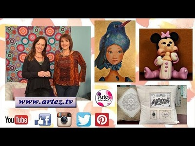 Programa 13 ArteZ TV 15-6-17 #Transferencia sobre tela #Souvenir #Plumas en acrílico