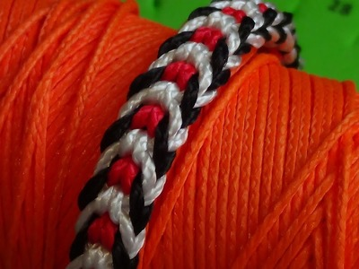 Pulsera Kumihimo fácil espiga blanca y roja