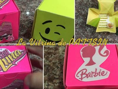 Tarjeta de invitacion facil o caja de regalo, emoji, soy luna, barbie