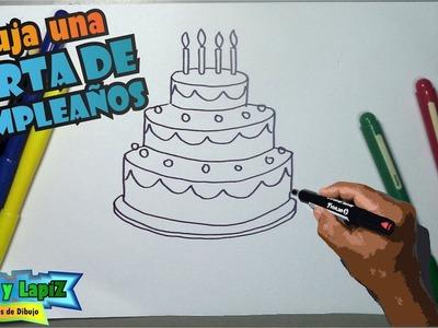 Cómo dibujar una torta de cumpleaños