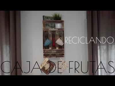 Estantería con cajas de frutas, cajas de fresas recicladas, guacales, shelf, fruit box