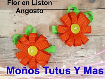 FACIL FLOR CON LISTON Paso a Paso SPRING RIBBON FLOWER Tutorial DIY How To PAP Video 153