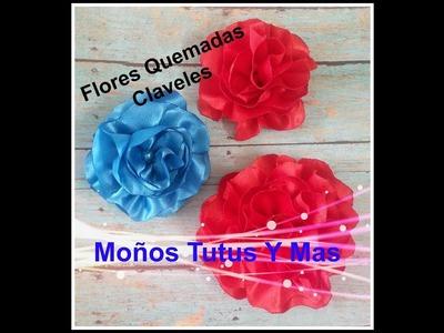 FLOR QUEMADAS CLAVEL EN LISTON Paso a Paso SATIN CARNATION FLOWERS Tutorial DIY How To PAP Video 49