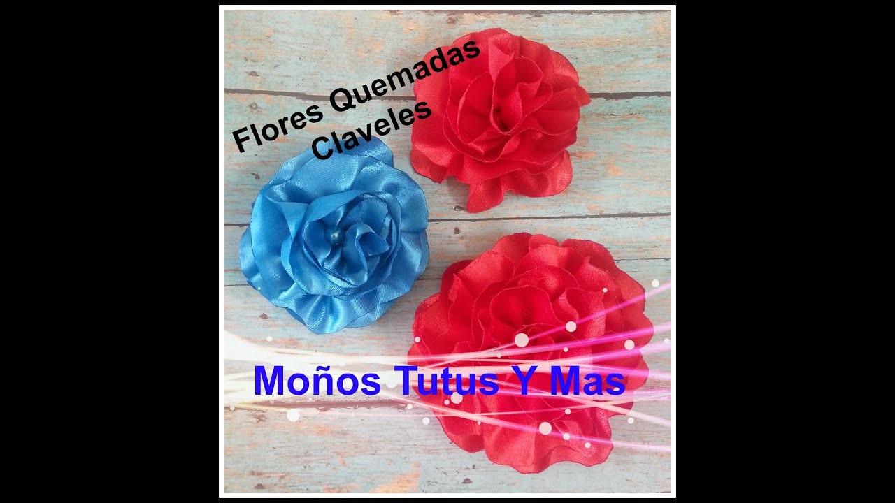 FLOR QUEMADAS CLAVEL EN LISTON Paso a Paso SATIN CARNATION FLOWERS Tutorial DIY How To PAP Video 49