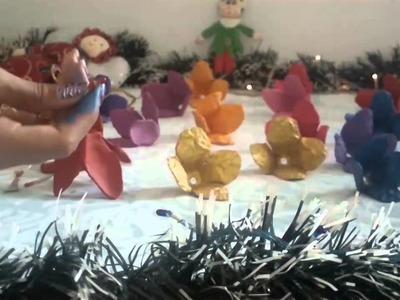 Flores Con Carton De Huevos Como Decoracion Para Navidad