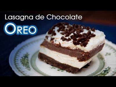Lasagna de Chocolate de Cheesecake, Oreos y Chantilly Sin Horno