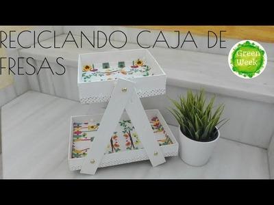 Reciclando cajas de fresas, bandeja para chuches, mesa candy bar, diy recycled wood box