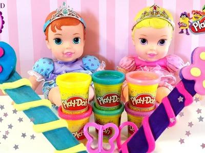 Baritas Mágicas con Play-Doh Purpurina para las Bebés Ariel y Aurora