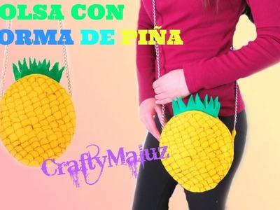 BOLSA en FORMA DE PIÑA | como hacer bolso en forma de piña | manualidades fáciles