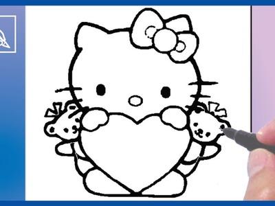 Cómo dibujar a Kitty Con Corazón 3 - How To Draw Kitty With Heart 3 | Dibujando