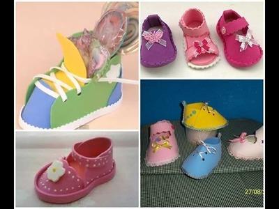 Como hacer zapatitos para bebés a mano.ideas. baby's shoes