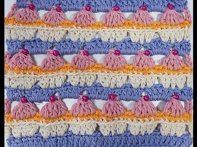 Como tejer punto cupcake a crochet con patrón dentro