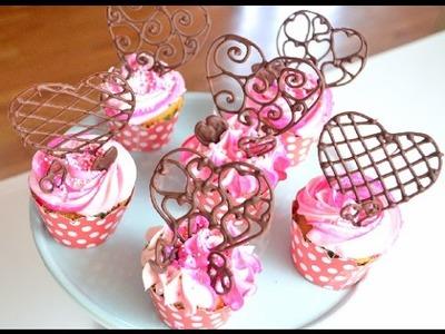 Cupcakes con Corazones de Chocolate