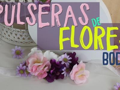 Detalles para regalar a los invitados de una boda ¡MUY FACIL! ¡Pulseras de Flores! #umamanualidades