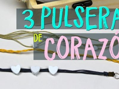 ¡¡3 pulseras de corazones Fáciles con Arcilla!!