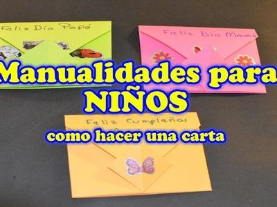 Manualidades para Niños Faciles, sobres de papel para el Dia de la Madre o del Padre