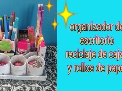 Organizador de escritorio  ( reciclaje de cajas y rollos de cartón  )