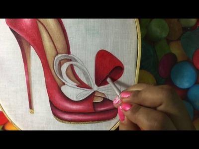 Pintura En Tela Zapatilla Roja # 2 Con Cony