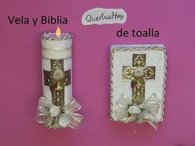 Recuerdos para 1ª Comunión Biblia y Vela de toalla. DIY