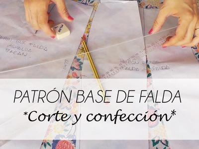 TUTORIAL PATRÓN BASE DE FALDA CORTE Y CONFECCION