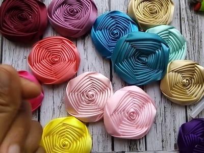 Como hacer Rosas de listón Pentagono, Rosas En cintas satinadas.rosa torbellinl
