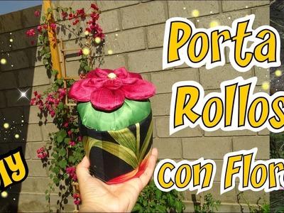 Como hacer un Porta Rollo con Flores de Tela para el baño - Tutorial DIY