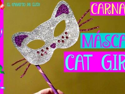 Cómo Hacer una Máscara de Carnaval, Máscara Casera de Carnaval, Máscara Cat Girl,