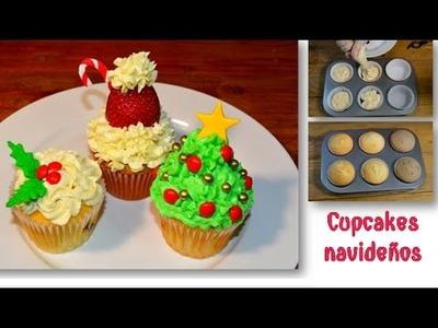 Cupcakes esponjosos navideños MUY FACIL