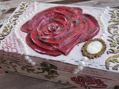 Decorar caja de madera con decoupage en relieve de porcelana fria -Parte 2