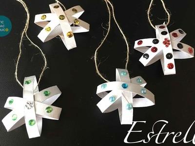 Estrella de navidad realizada con tubos de cartón reciclados