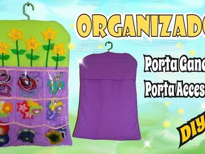 Organizador de Coletas - Porta ganchos y accesorios con Flores de Tela