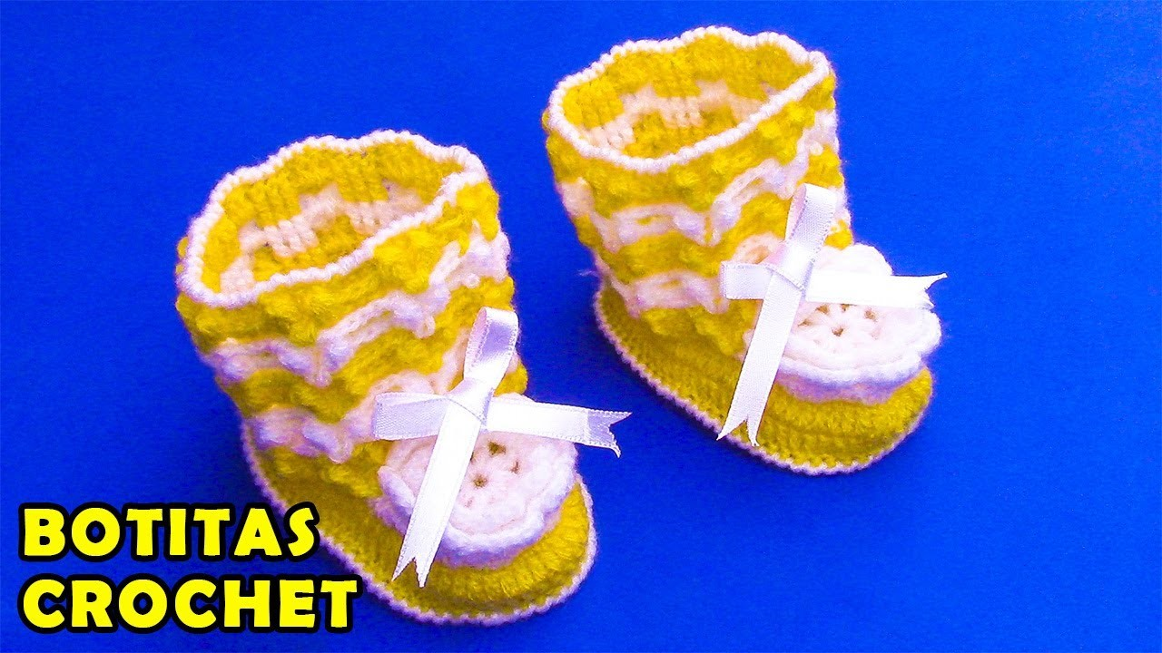Botitas tejido a crochet para bebé de 4 a 5 meses en punto garbanzo en relieve